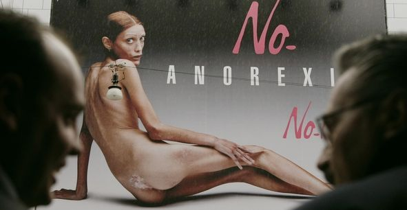 Denial is a symptom - an advertising campaign featuring the photo of an emaciated girl during Milan fashion week.