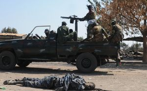 Government troops in Bentiu in January.