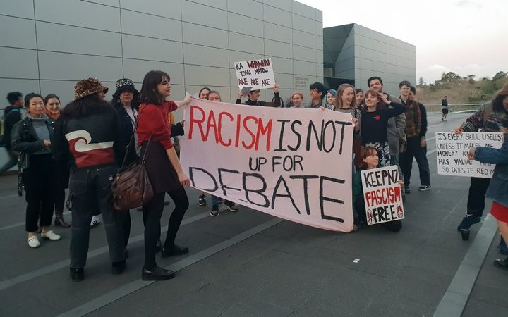 Protesters at Auckland University. Photo / Matthew Theunissen