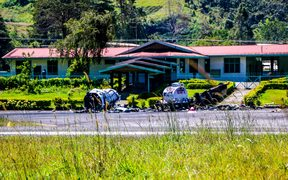The remains of an Air Niugini airplane, destroyed by an angry mob at Mendi airport in June, have now been moved off the runway.