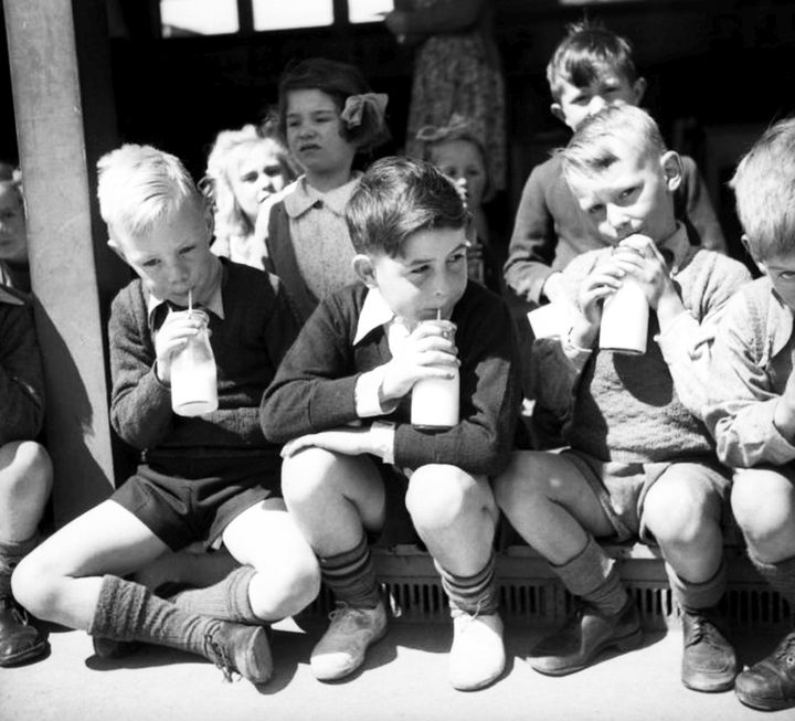 Pupils drinking their school milk in the 1940s in Christchurch
