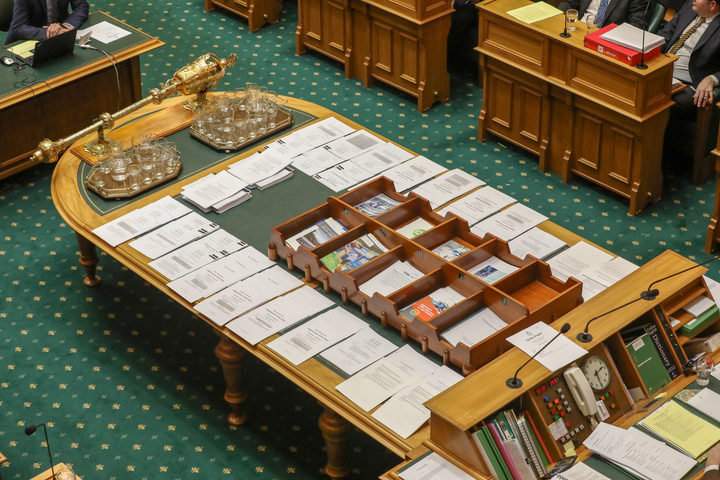 Proposed amendments to the Electoral (Integrity) Amendment Bill 2018 cover the table in the House. 9 august 2018