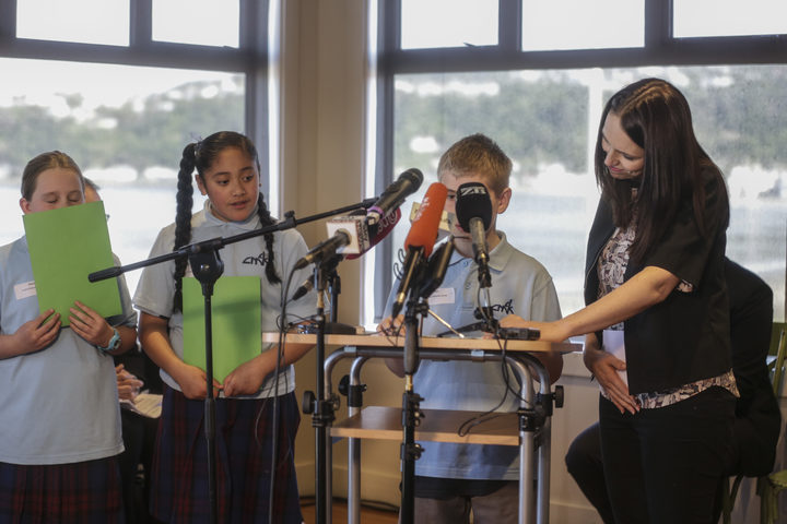 Students from Cardinal McKeefry School with Prime Minister Jacinda Ardern.