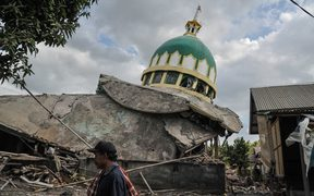 A Mosque damaged by an earthquake at Bayan in Lombok, Indonesia on August 11, 2018.
