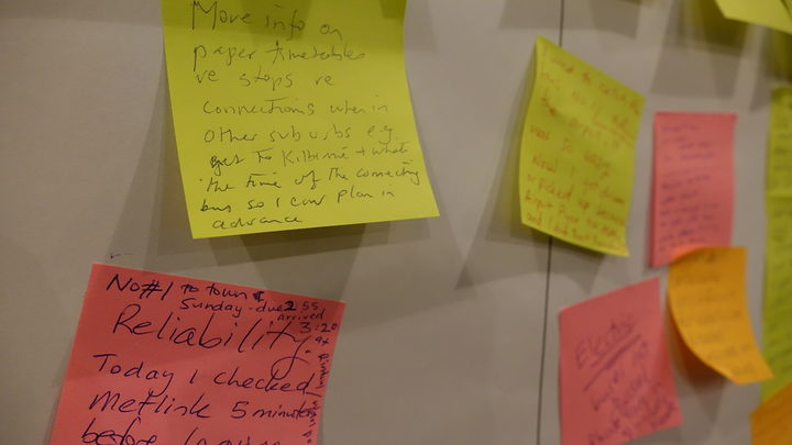 Post it notes outlining problems commuters have with the buses. Photo / Emma Hatton