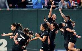 The Black Ferns celebrate winning the rugby sevens World Cup