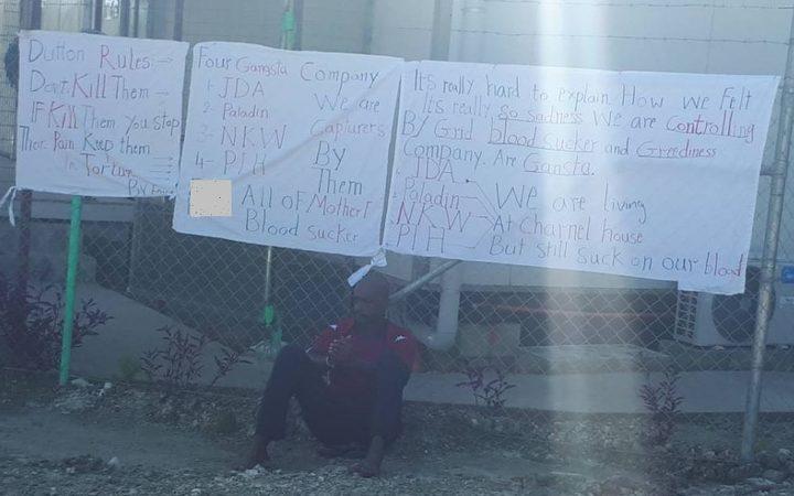 Bashir Osman protesting at West Lorengau Transit Centre.