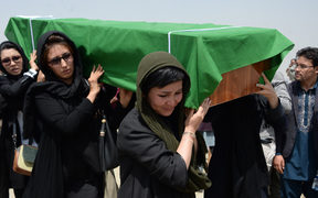 Afghan Shi'ite women carry the coffin of a person killed in a suicide attack.