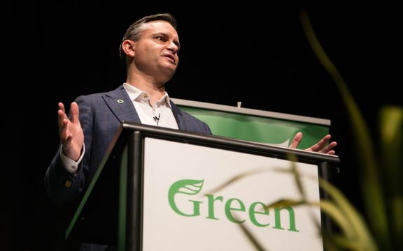 Green Party co-leader James Shaw speaking at the party's AGM.