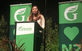 Green Party co-leader Marama Davidson speaking at the party's AGM.