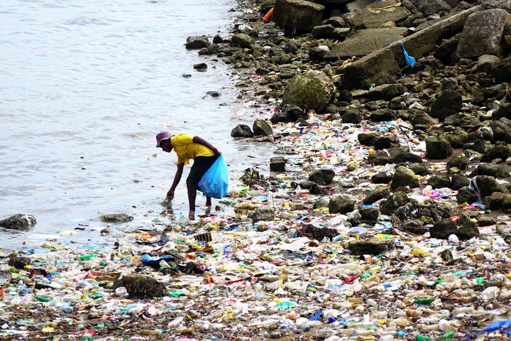 Port Moresby city cleanup effort in action on the city's waterfront.