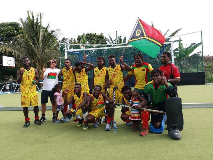 Vanuatu celebrate beating Fiji to win the World Series Round 1 tournament in Port Vila.