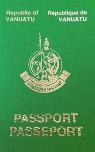 The cover of the Vanuatu passport.