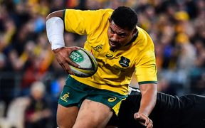 Wallabies hooker Tatafu Polata-Nau on the charge against the All Blacks in Sydney.
