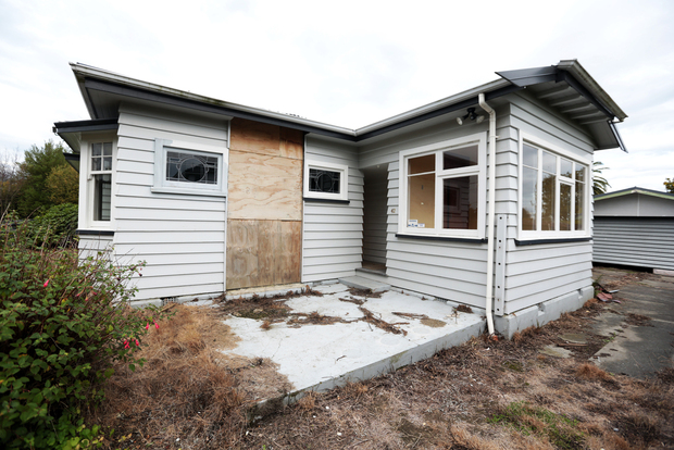 A house hit by the Christchurch earthquakes
