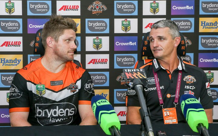 Wests Tigers captain Chris Lawrence and coach Ivan Cleary.