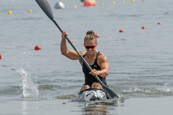 Lisa Carrington competing at the Canoe Sprint World Championships in Portugal.