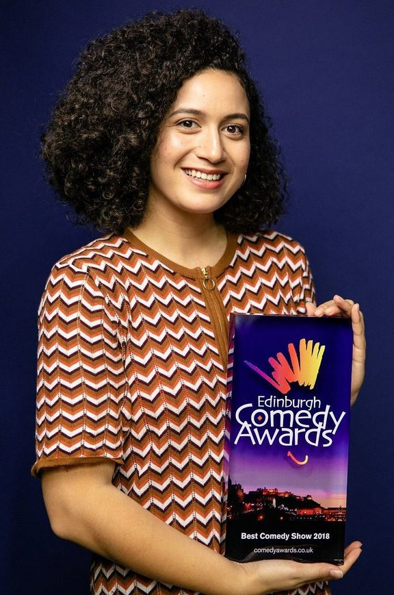Rose Matafeo with her award for the best comedy show at the Edinburgh Fringe Festival.