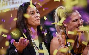 Noeline Taurua celebrates her second straight win in the Australian domestic competition with the Sunshine Lightning.