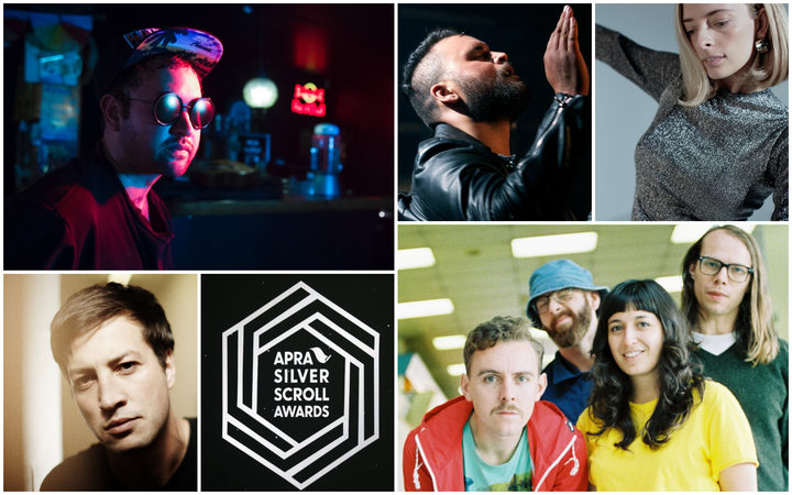 Clockwise from top left: Ruban Nielson of Unknown Mortal Orchestra, Troy Kingi, Chelsea Jade, The Beths, Marlon Williams
