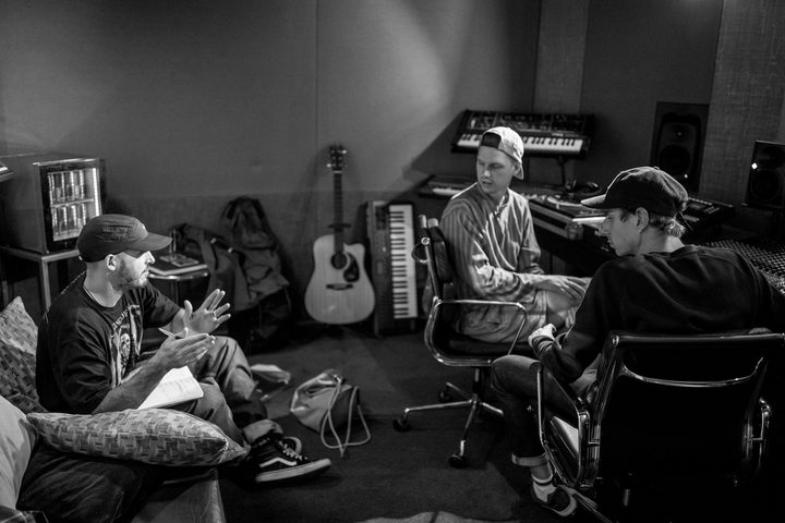 Tom Scott, Cristoph El Truento, Ben Lawson at the Red Bull Studio in Auckland on March 10, 2017
