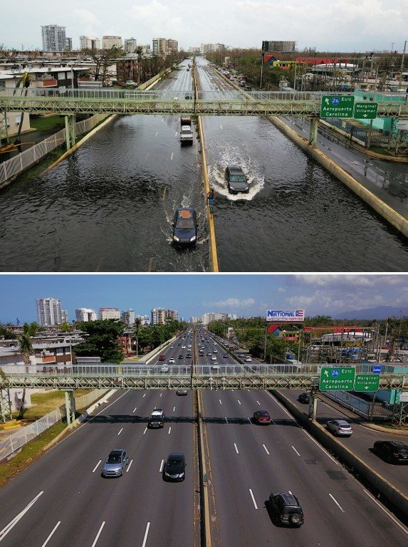 Cars driving through a flooded road in the aftermath of Hurricane Maria in Puerto Rico, on September 2017 (above) and (below) an aerial view of the Roman Baldorioty de Castro highway six months after the passing of Hurricane Maria.