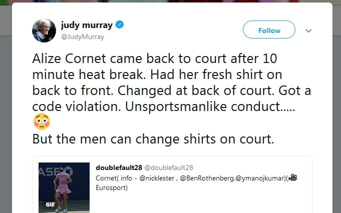 US Open regret penalising Alize Cornet for changing shirt on court