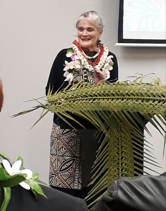 Emeritus Professor Tagaloatele Peggy Fairbairn-Dunlop addresses students at AUT South Campus who wanted to celebrate her contribution to academia.