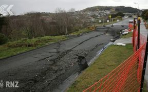 Porirua street sinks by one metre in just one month