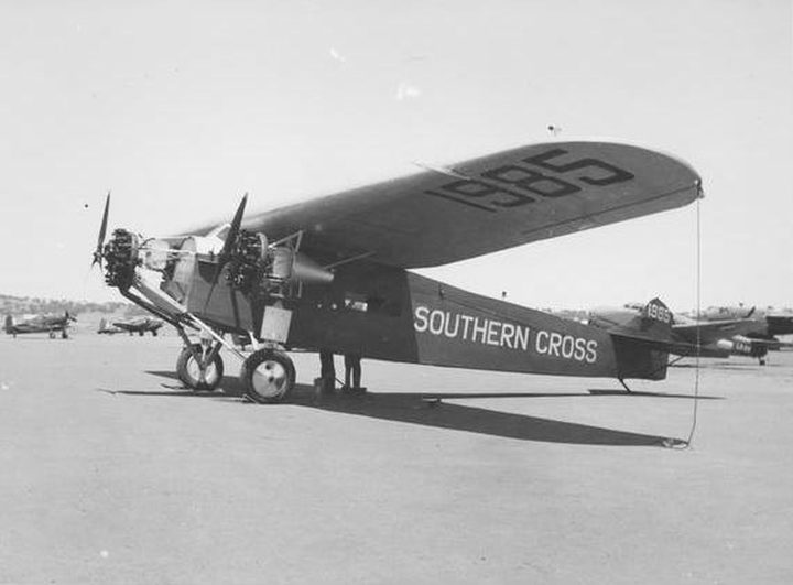 Charles Kingsford-Smith's 'Southern Cross' Fokker plane, the first plane to cross the Pacific Ocean, and the first to cross the Tasman Sea.
