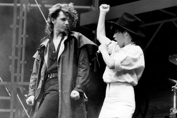 Jenny Morris with Michael Hutchence in the 1980s