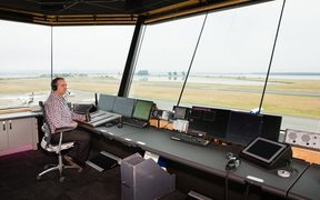 Airways Business Manager South Adam Arnold-Kelly in the new control tower at Nelson Airport.