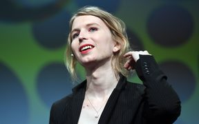 Chelsea Manning speaking at the internet conference re:publica in Berlin, May 2018.