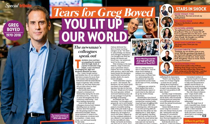 Magazines like Woman's Day also marked the death of Greg Boyd with tributes.