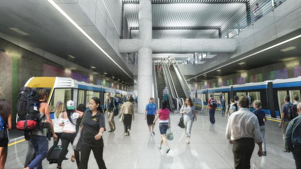 An artist's impression of an underground station on the City Rail Link, which will be built under QE2 Square.