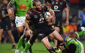 Simon Mannering as committed as ever in his 300th game for the Warriors.