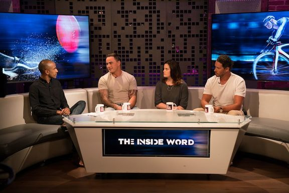 Jehan Casinader (left) hosting TVNZ's mental health discussion show The Inside Word in 2017.