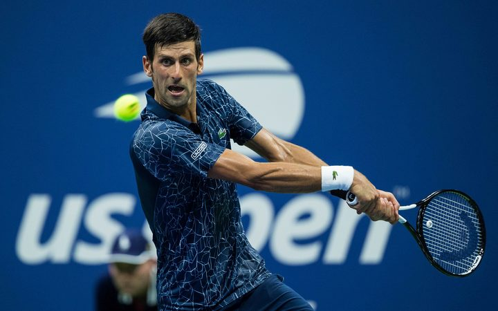 Novak Djokovic competing at the 2018 US Open