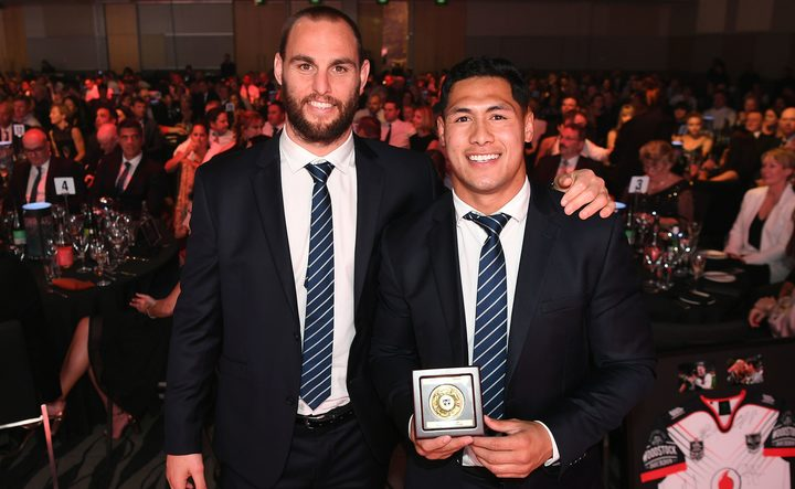 "Warriors player of the year and the winner of the inaugural ""Simon Mannering Medal"" Roger Tuivasa-Sheck pictured with Simon Mannering."