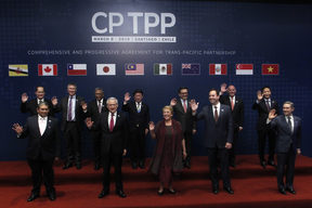 The official picture before signing the rebranded 11-nation Pacific trade pact Comprehensive and Progressive Agreement for Trans-Pacific Partnership (CPTPP) in Santiago, on March 8, 2018.
