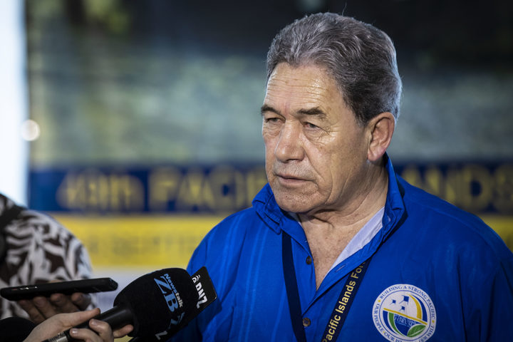 Minister of Foreign Affairs Winston Peters speaks to the media after his meeting with Australian Minister of Foreign Affairs Marice Payne in Nauru during the Pacific Island Forum.