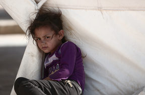 A Syrian child at a camp for those displaced from the rebel-held Syrian province of Idlib.