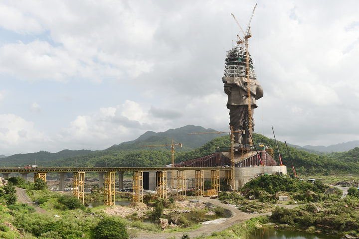 "The under-construction ""Statue Of Unity"", a monument dedicated to Indian independence leader Sardar Vallabhbhai Patel, overlooking the Sardar Sarovar Dam near Vadodara in India's western Gujarat state."