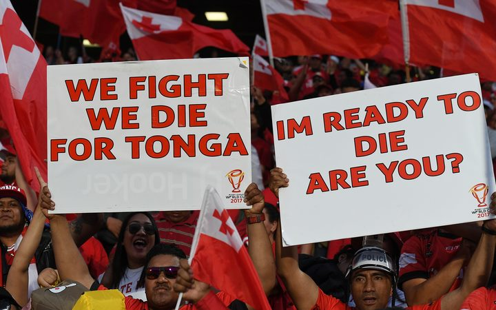 Tonga Rugby League fans at the RLWC semi final against England in 2017.