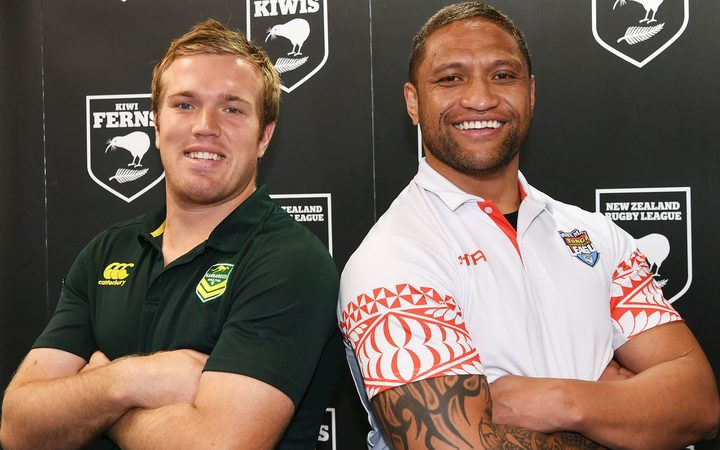 Manu Vatuvei, (right), and Australian international Jake Trbojevic announce the much anticipated match up