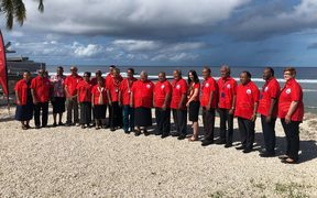 Pacific Islands Forum leaders gather for a group photo ahead of their retreat.