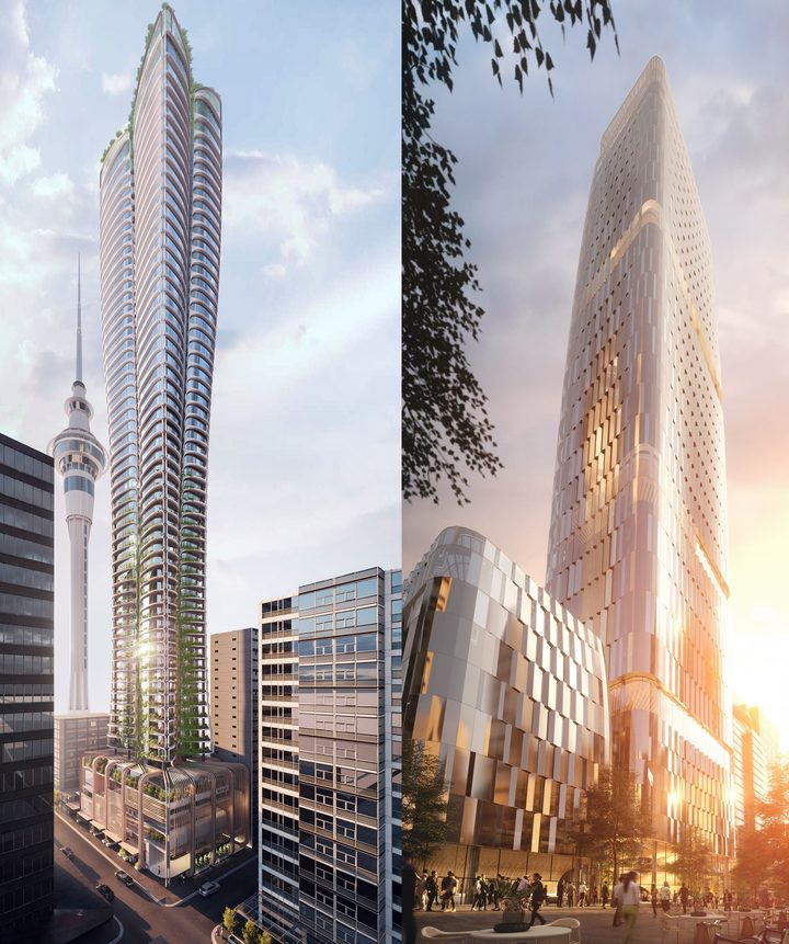 The final two tower designs from Cox Architecture (left) and Woods Bagot.