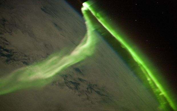 The aurora australis observed from the International Space Station.