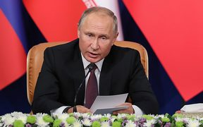 Russian President Vladimir Putin giving a press conference in Tehran