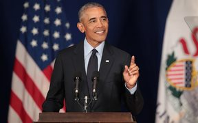 Former President Barack Obama speaks to students at the University of Illinois